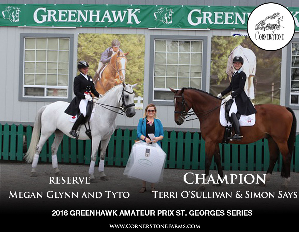 Terri O'Sullivan & Simon Says and Megan Glynn & Tyto - 2016 Greenhawk Prix St. Georges Series CHAMPIONS CORNERSTONE DRESSAGE